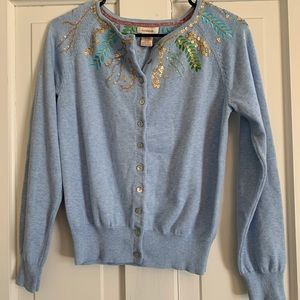 Sundance Catalog Button Down Beaded Cardigan M